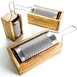 Large Stainless Steel Cheese Grater With Olive Wood Box (19.5cm)