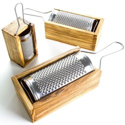 Medium Stainless Steel Cheese Grater With Olive Wood Box (16cm)
