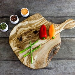 Natural Waney Edged Olive Wood Chopping Board (40cm x 25cm x 2cm)