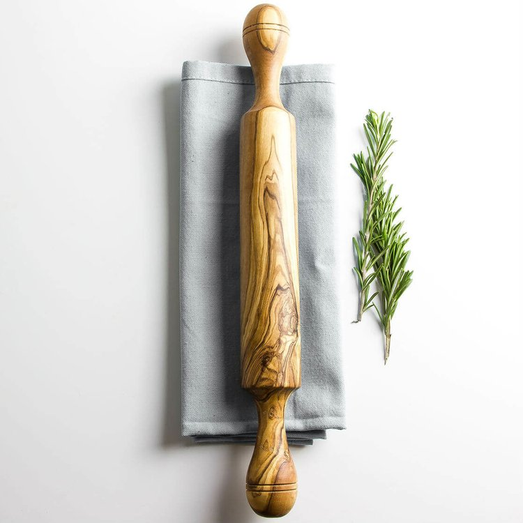 Olive Wood Rustic Wooden Rolling Pin (Length 38cm)