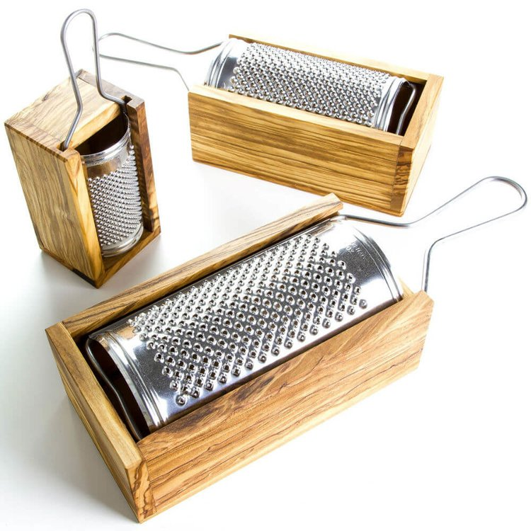 Small Stainless Steel Cheese Grater With Olive Wood Box (16cm)