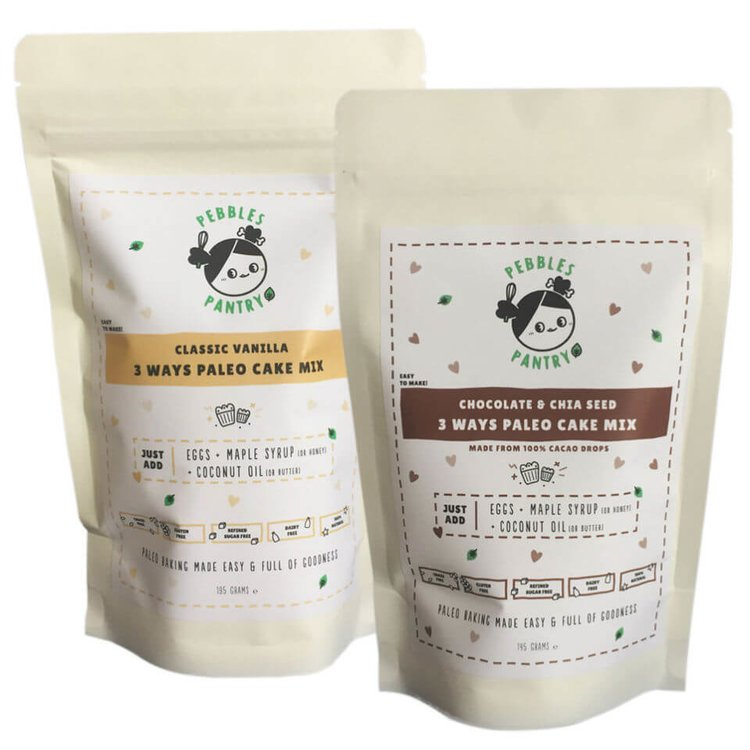 2 x Paleo Cake Mix Set 150g (Inc. Classic Vanilla and Chocolate & Chia Seed Mixes)