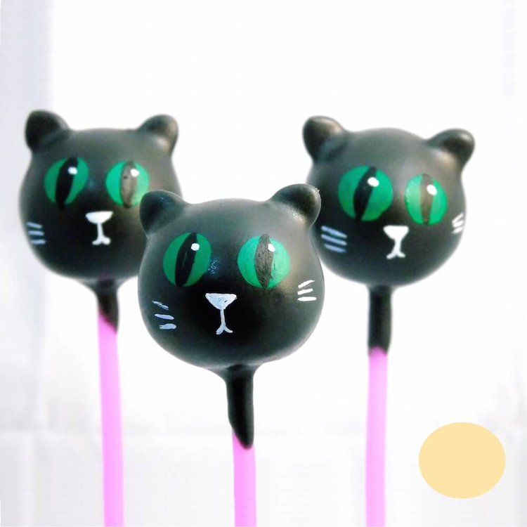 6 Black Cat Vanilla Cake Pops (for Gifts & Parties)