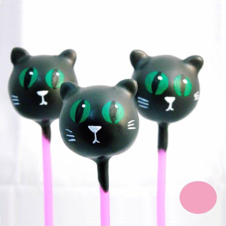 6 Black Cat Strawberry Milkshake Cake Pops (for Gifts & Parties)
