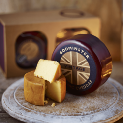 Vintage Cheddar & Oak Smoked Cheddar Cheese Truckle Gift Box by Godminster (Organic)