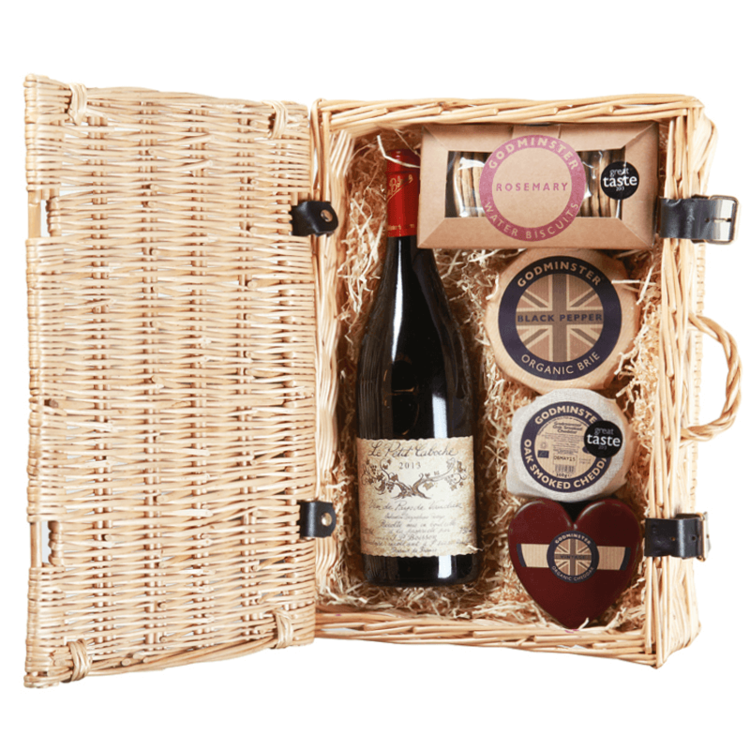 Godminster 'Cheese Lovers' Gift Box with Cheese, Biscuits & Red Wine