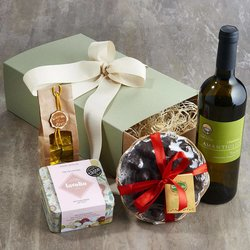 Italian Food & Wine Hamper for Her Inc. Organic Chardonnay Wine & Chocolate