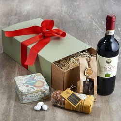 Italian Food & Wine Hamper for Him Inc. Organic Chianti Red Wine & Dark Chocolate
