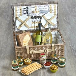 Italian Picnic Hamper for Four Inc. Chardonnay Wine, Prosecco, Antipasti, Paté & Olives