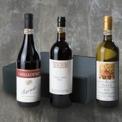 Piedmont Italian Organic Wine Hamper Inc. Gavi, Barbera d'Asti & Cavaletto Barolo Wines