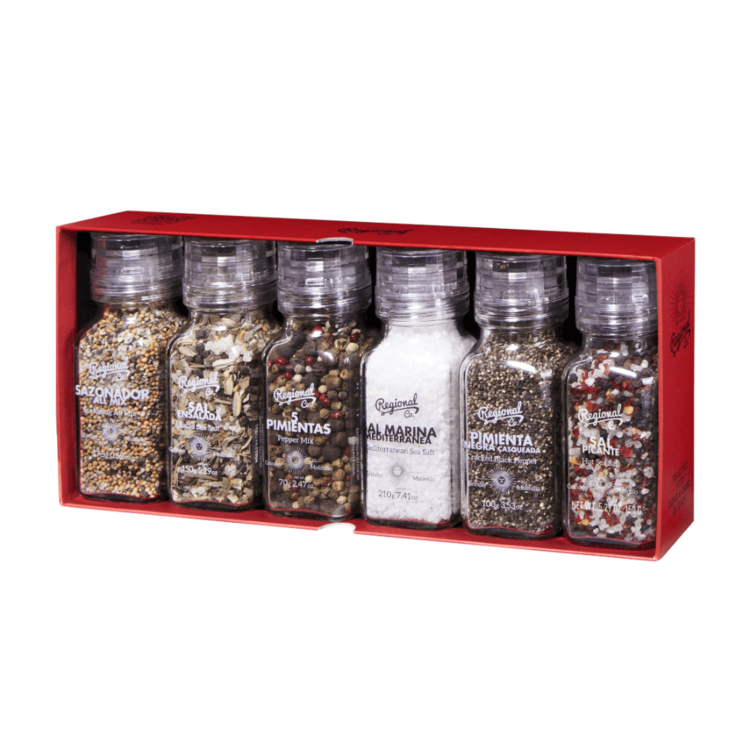 6 Gourmet Salt & Pepper Glass Jar Grinders Gift Set