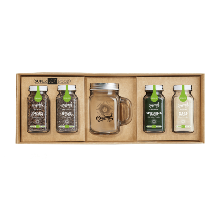 Organic Superfood Smoothie Gift Pack Pack with Glass Jug, Chia Seeds, Spirulina, Cacao & Maca