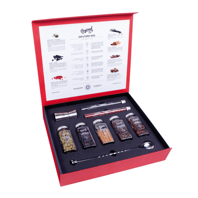 Gin & Tonic Botanicals Premium Gift Box with 7 Botanicals, Braided Cocktail Spoon & Jigger Measurer