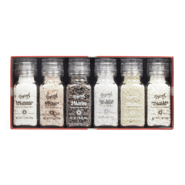 6 Gourmet Salts of the World Gift Box Inc. Pink, Grey & Blue Salts with Glass Grinders