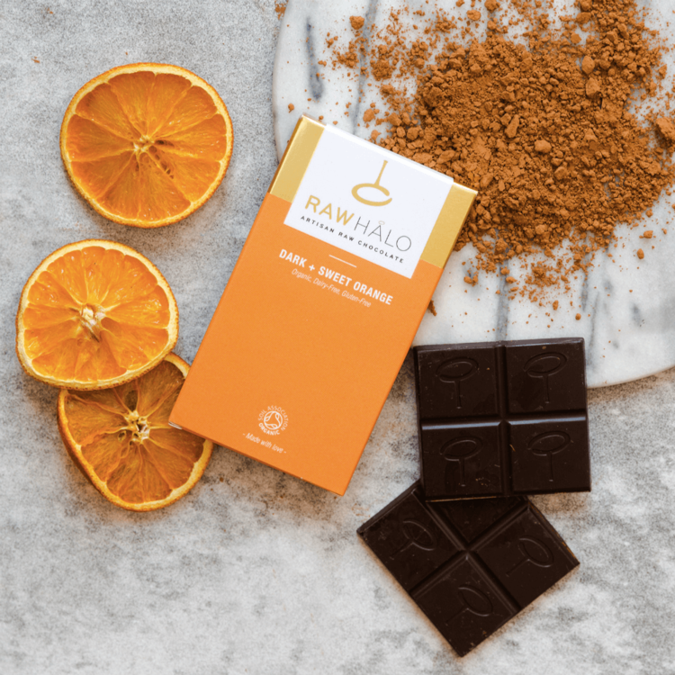 Organic Dark + Sweet Orange Raw Chocolate Bar 35g