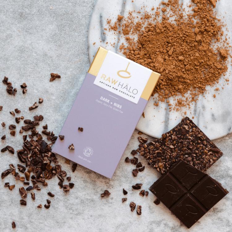 Organic Dark + Nibs Raw Chocolate Bar 35g