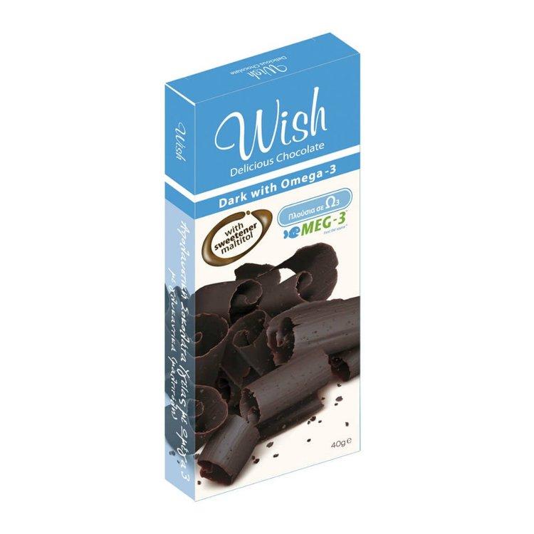 12 x Dark Chocolate Bar with Omega-3 40g by Wish Snacks