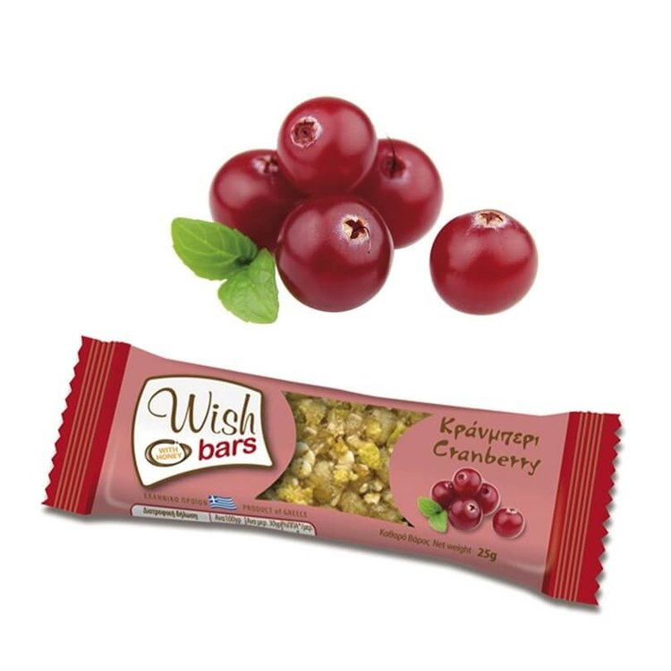 28 x Cranberry, Honey & Nuts Natural Energy Bar 25g by Wish Snacks