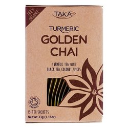 Golden Chai Turmeric Tea with Coconut, Black Pepper & Exotic Spices 15 Tea Bags (Ayurvedic)