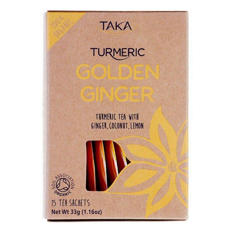 Golden Ginger Turmeric Tea with Coconut & Lemon 15 Tea Bags (Caffeine-Free, Ayurvedic)