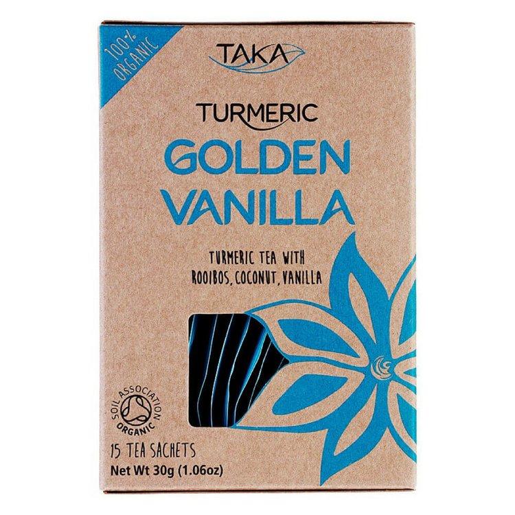Golden Vanilla Turmeric Tea with Rooibos & Coconut 15 Tea Bags (Caffeine-Free, Ayurvedic)