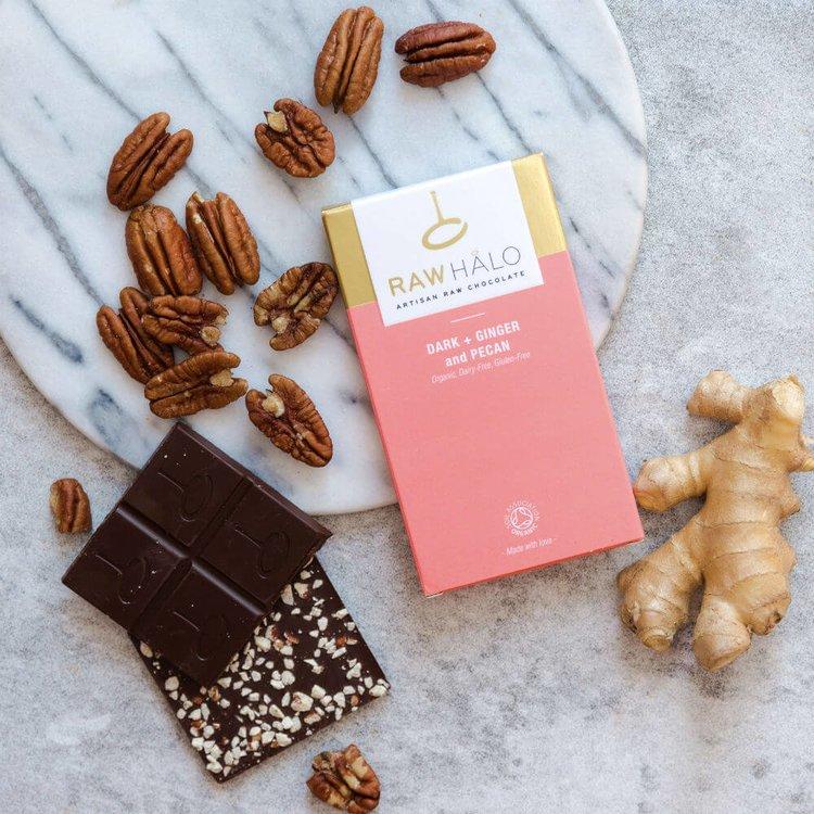 Organic Ginger & Pecan Raw Dark Chocolate Bar 35g