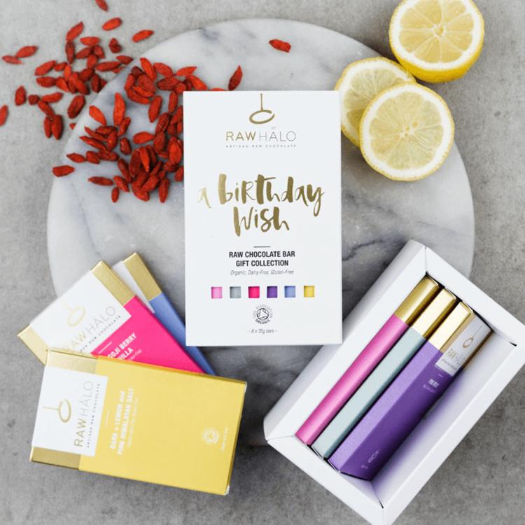 'A Birthday Wish' Organic Raw Chocolate Gift Box Inc. 6 x 35g Vegan Bars