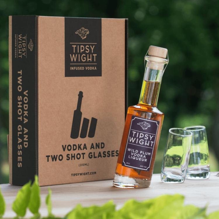 Wild Plum Vodka & Glasses Liqueur Gift Set with 20cl Bottle & 2 Shot Glasses by Tipsy Wight