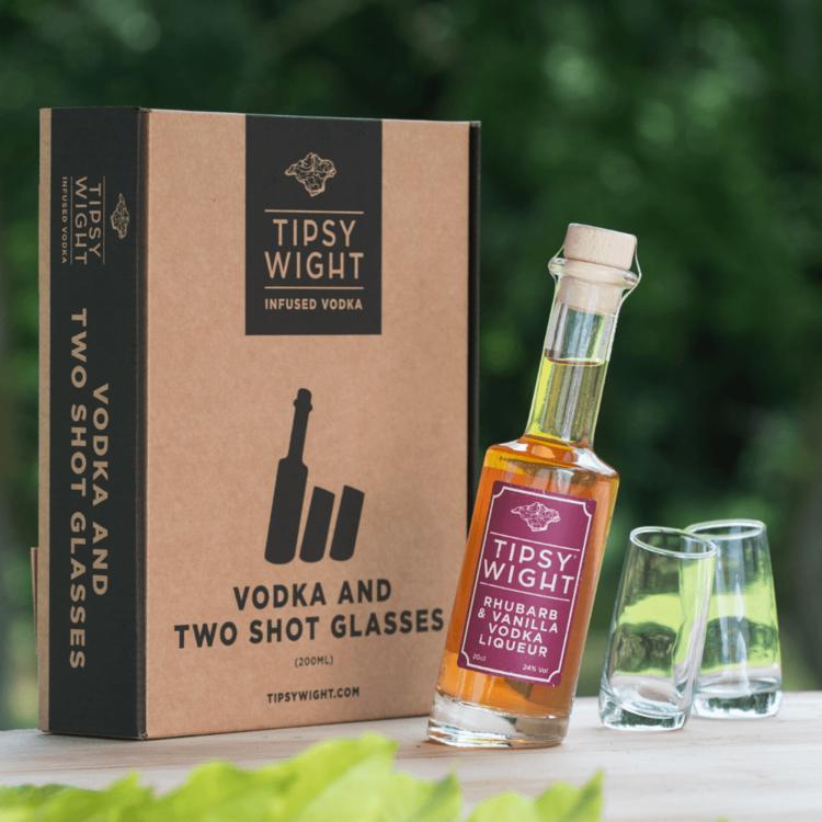 Rhubarb & Vanilla Vodka Liqueur & Glasses Gift Set with 20cl Bottle & 2 Shot Glasses by Tipsy White