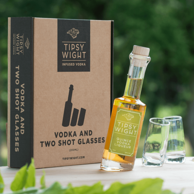 Quince Vodka Liqueur & Glasses Gift Set with 20cl Bottle & 2 Shot Glasses by Tipsy Wight