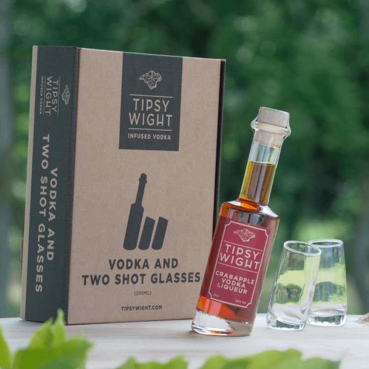 Crabapple Vodka Liqueur & Glasses Gift Set with 20cl Bottle & 2 Shot Glasses by Tipsy White