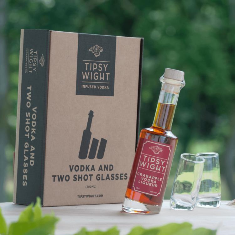 Crabapple Vodka Liqueur & Glasses Gift Set with 20cl Bottle & 2 Shot Glasses by Tipsy Wight