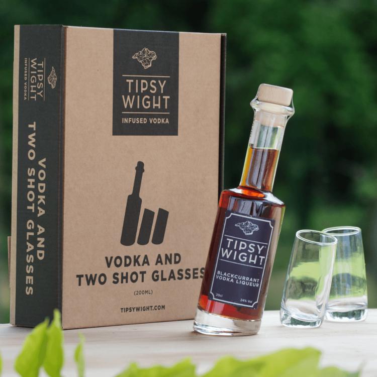 Blackcurrant Vodka Liqueur & Glasses Gift Set with 20cl Bottle & 2 Shot Glasses by Tipsy White