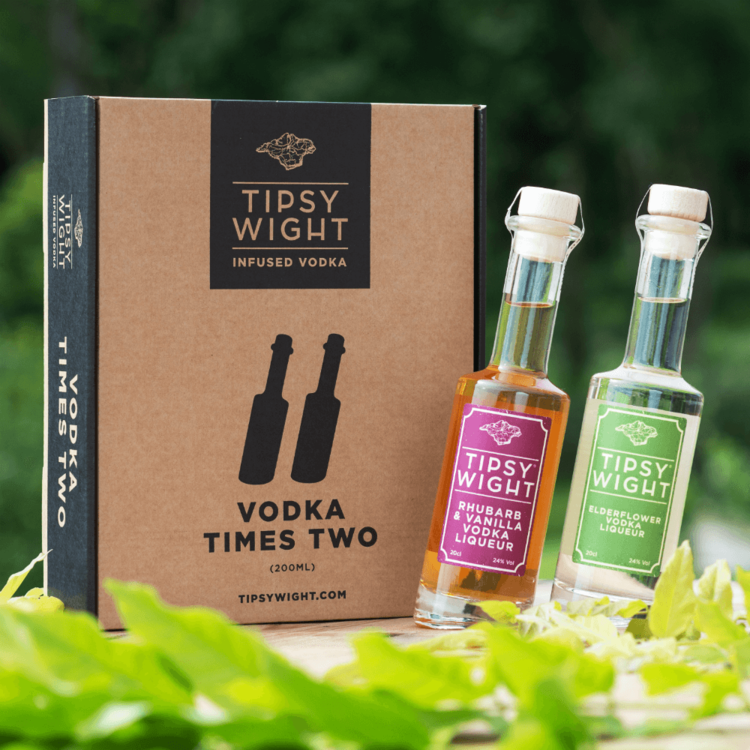 Vodka 'Spring' Liqueurs Gift Set with Rhubarb & Vanilla and Elderflower by Tipsy White