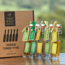 Vodka Liqueurs 'English Green' Gift Set with 5 Flavours Inc. Elderflower & Spiced Pear by Tipsy White