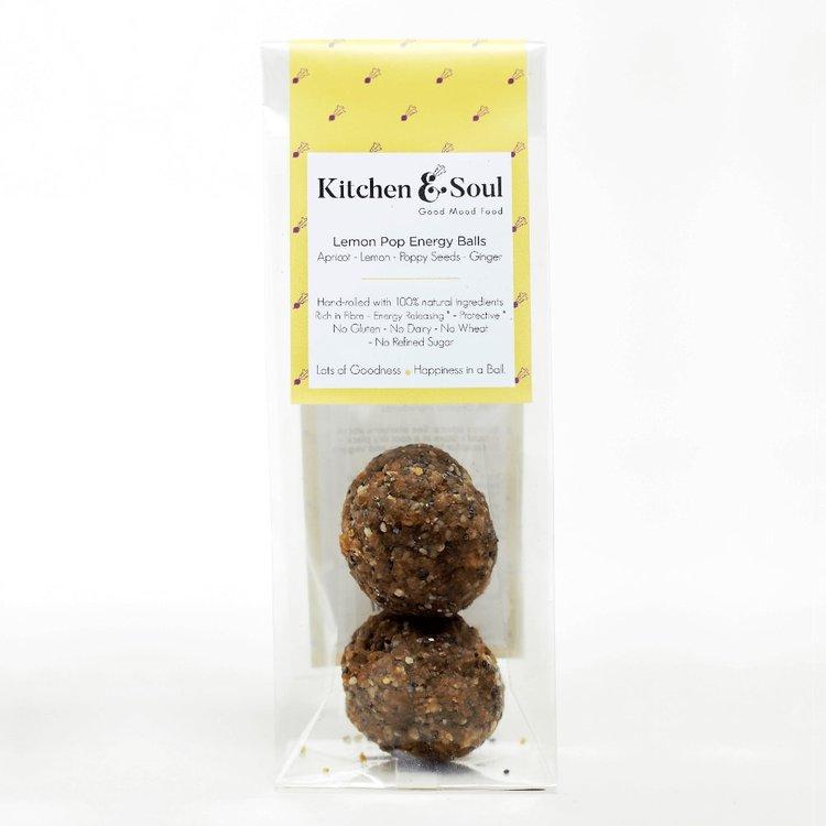 'Lemon Pop' Energy Balls with Apricot, Baobab & Ginger 60g