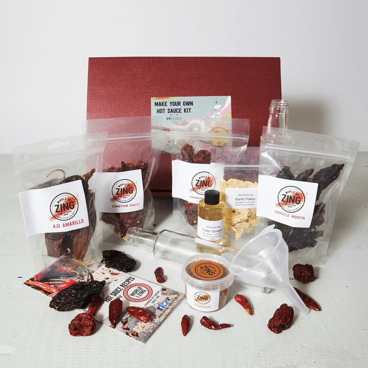 Hot Sauce Making Gift Kit Inc. Chillies, Spice Blends, Equipment & Recipes