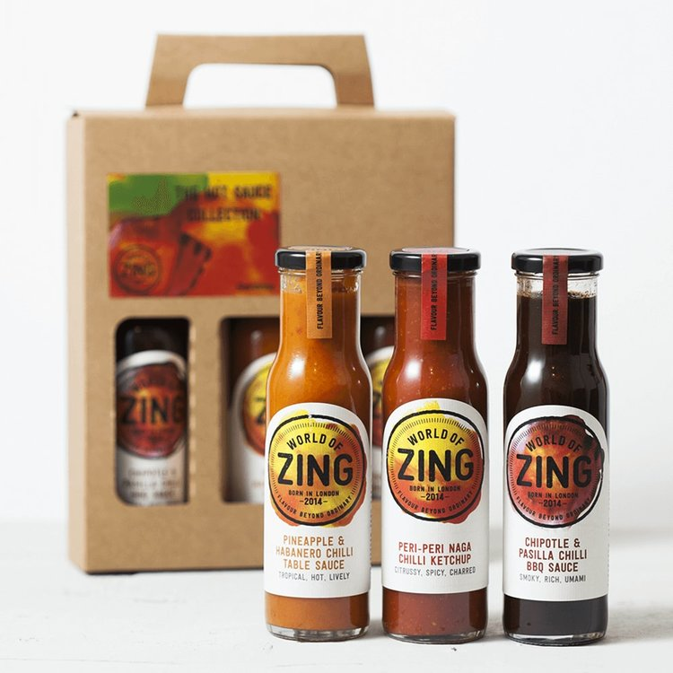 Miniature Hot Sauce Gift Box with Peri Peri Ketchup, Chilli BBQ Sauce & Chilli Sauce
