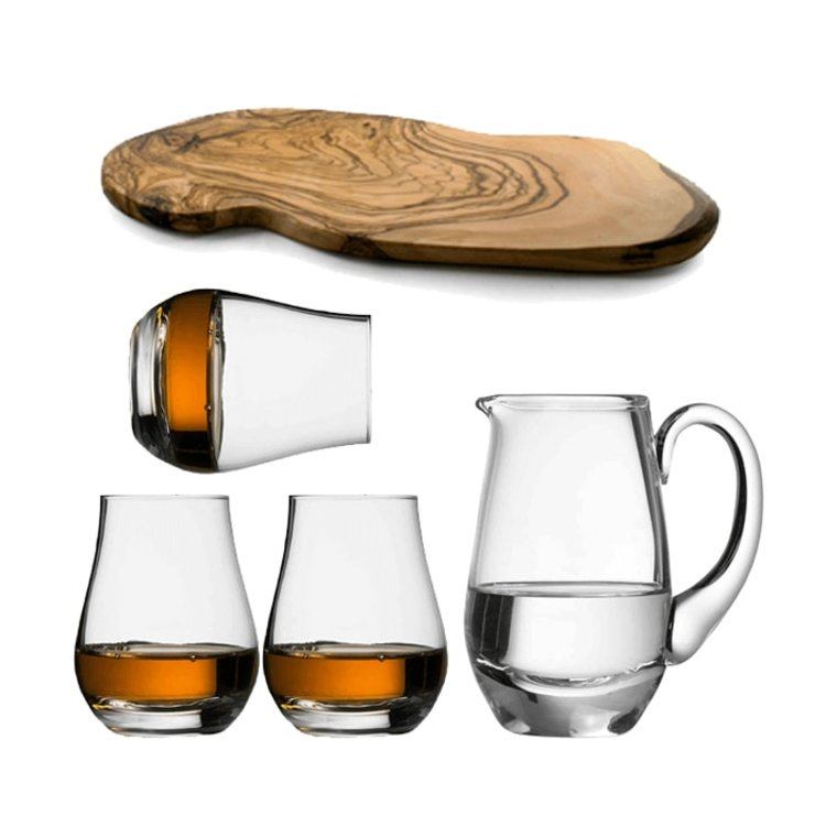 The 'Spey Dram' Whisky Taster Gift Set - 3 Spey Dram Glasses, Water Jug & Wooden Flight Board