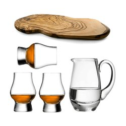 The 'Perfect Dram' Glass Whisky Taster Gift Set - 3 Glasses, Water Jug & Wooden Flight Board