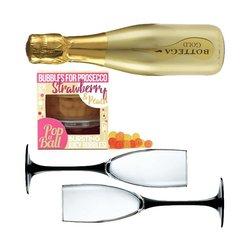 Prosecco Gift Set for 2 with Bottega Gold Prosecco, Champagne Glasses & Strawberry Bubbles