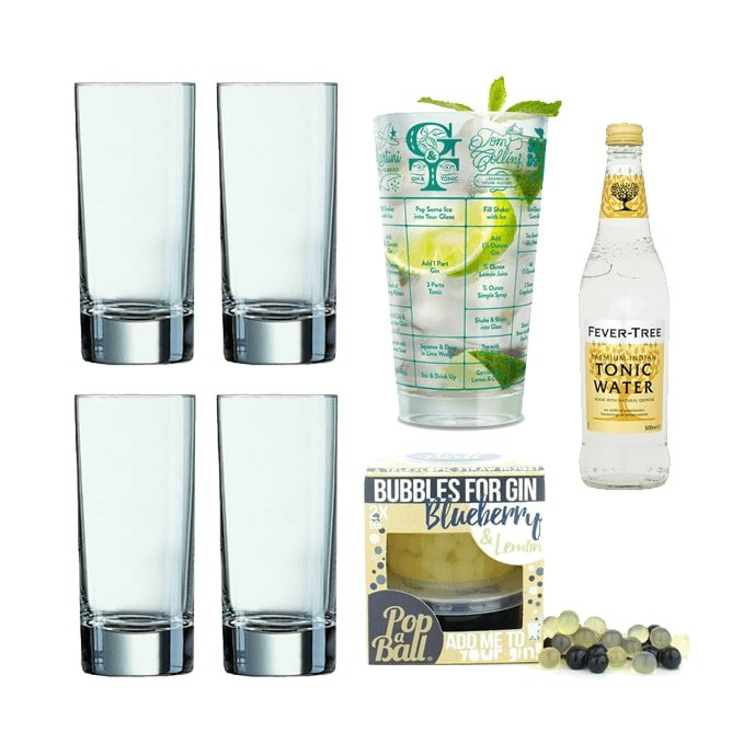 Gin & Tonic Recipes & Accessories Gift Set with Glasses, Blueberry Bubbles, Tonic & Recipe Glass