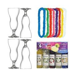Mai Tai Tropical Cocktail Gift Set with Hawaii Cocktail Glasses, Hawaiian Leis & Monin Syrups