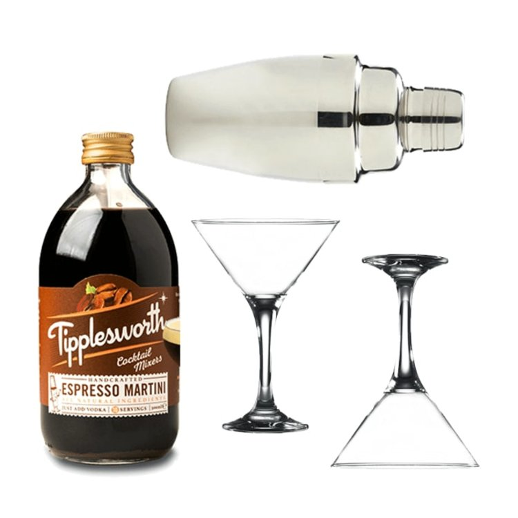 Espresso Martini Gift Set with Tipplesworth Cocktail Mix, Glasses & Cocktail Shaker