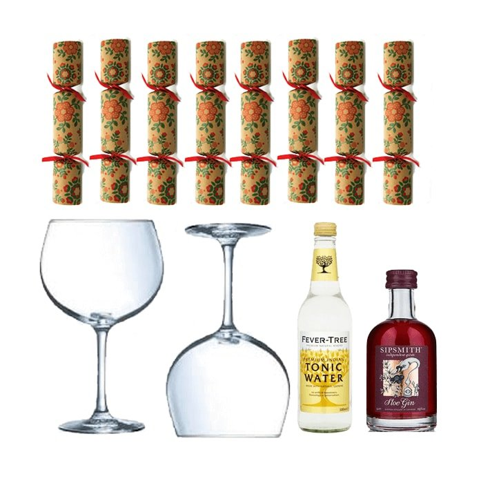 'Merry Ginmas' G&T Gift Set with Sipsmith Sloe Gin, Glasses & Eco Crackers