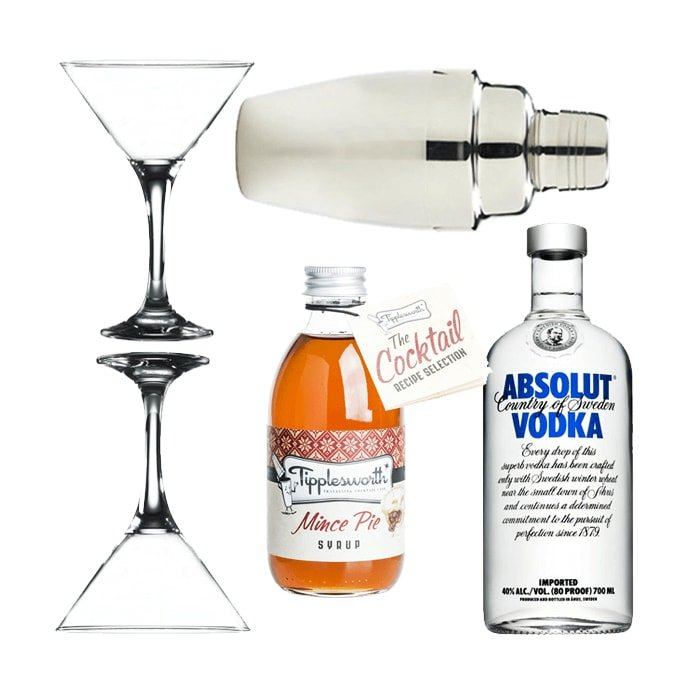 Mince Pie Martini Gift Set with Tipplesworth Syrup, Absolut Vodka, Glasses & Cocktail Shaker