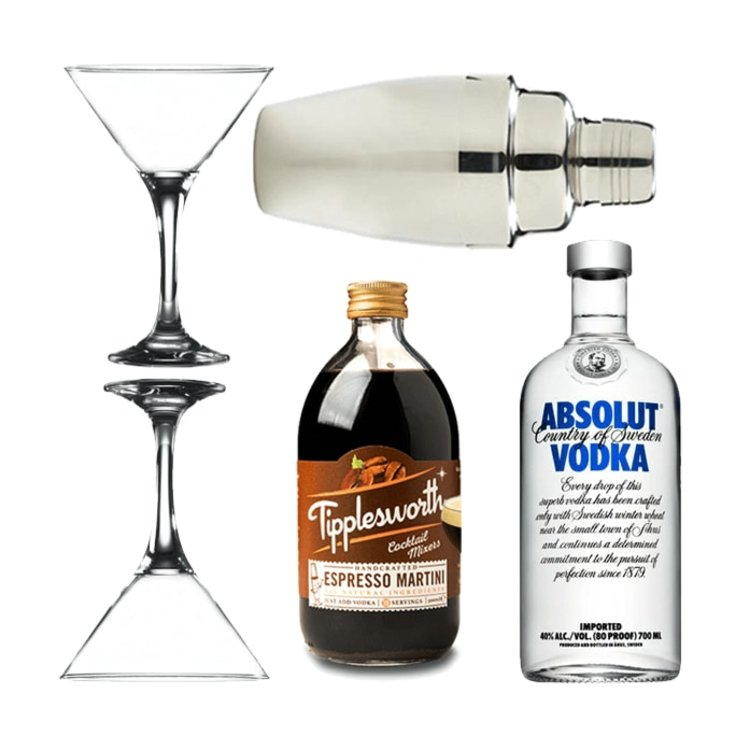 Espresso Martini Gift Set with Tipplesworth Mix, Absolut Vodka, Glasses & Cocktail Shaker