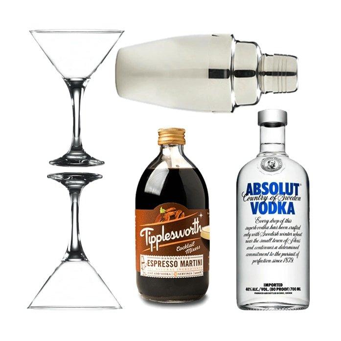 Espresso Martini Gift Set with Tipplesworth Mix, Absolut Vodka, Glasses & Cocktail Shaker