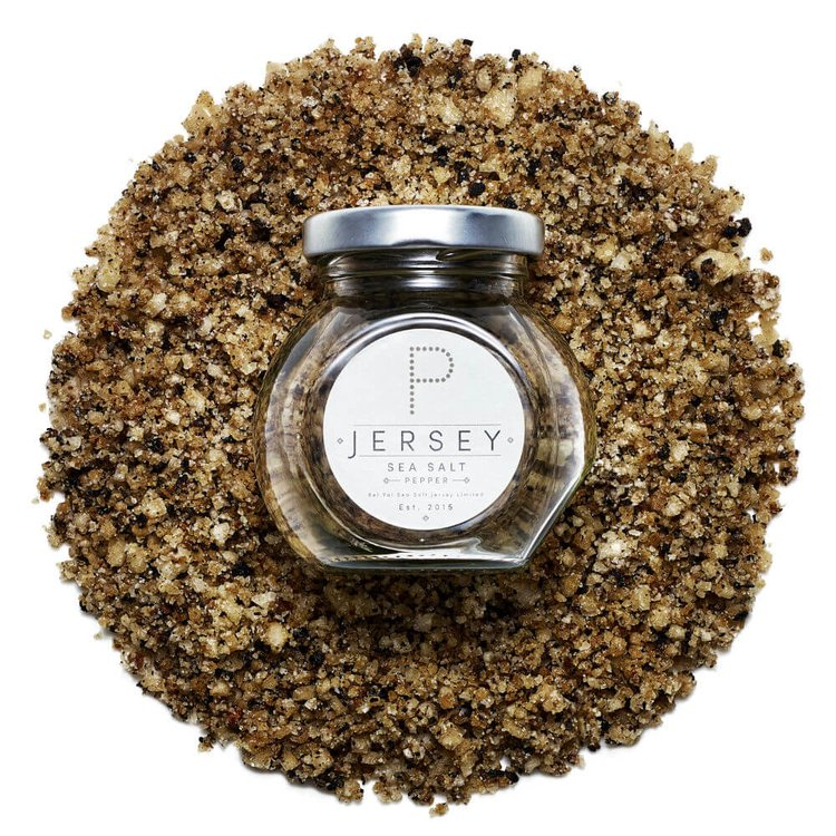 Jersey Natural Sea Salt Infusion with Crushed Black Pepper 100g in Glass Jar (Hand Harvested)