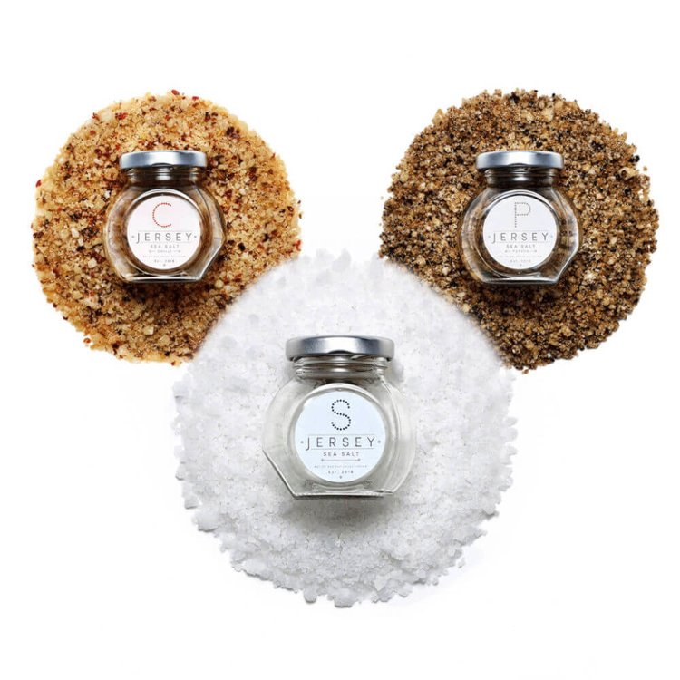 Jersey Sea Salts Gift Set - Original, Crushed Black Pepper & Chilli Infusions in Glass Jars
